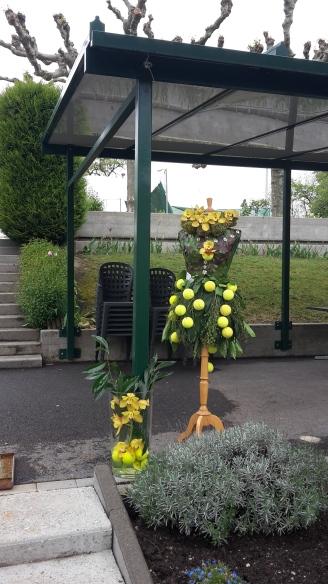 Mannequin végétal et balles de tennis